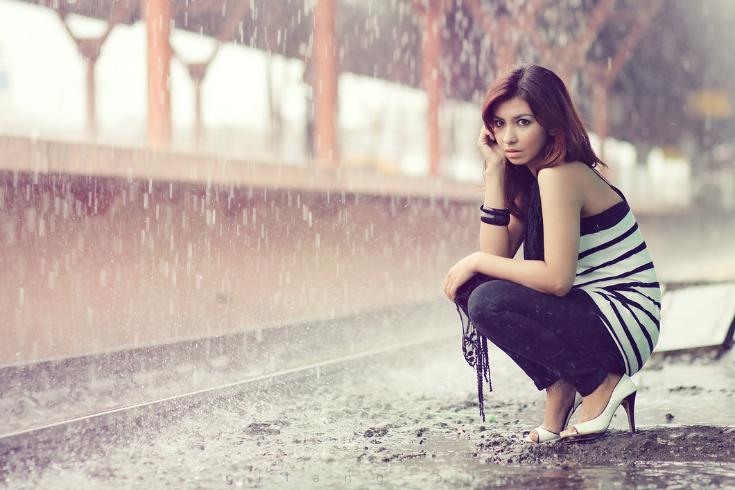 rapariga à chuva